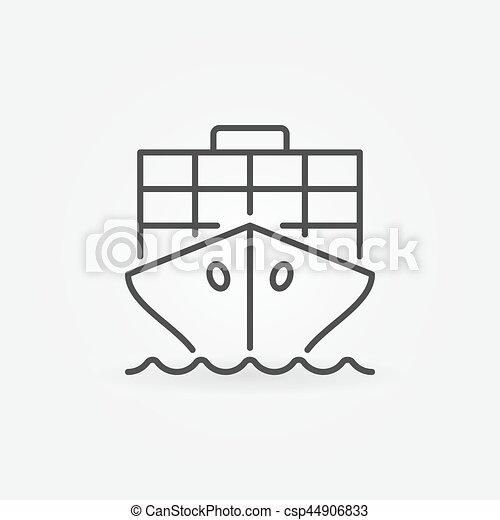 Cargo ship outline icon - vector concept minimal symbol or ...
