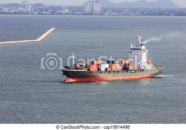 cargo ship sailing on the sea - csp10814498