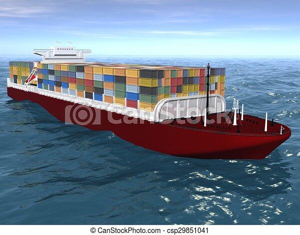 Cargo ship sails across the Ocean. - csp29851041