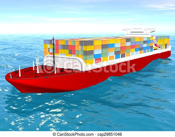 Cargo ship sails across the Ocean. - csp29851046