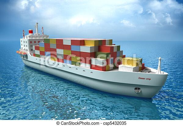 Cargo ship sails across the Ocean - csp5432035