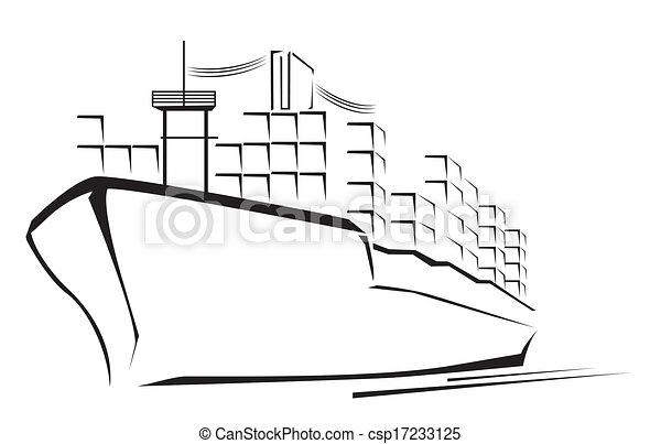 Cargo Ship Symbol  - csp17233125