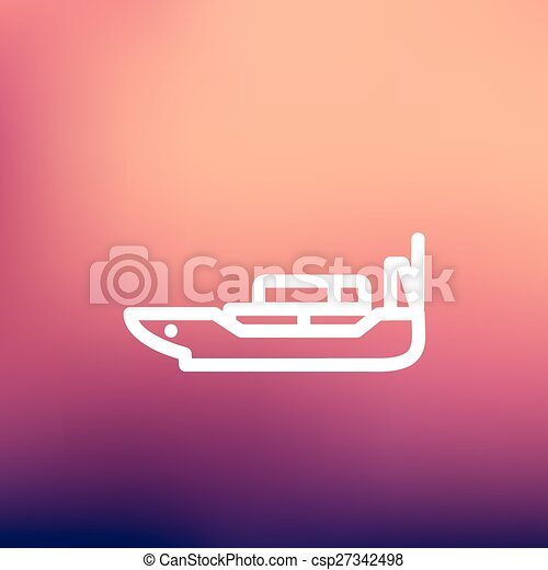 Cargo ship with container thin line icon - csp27342498