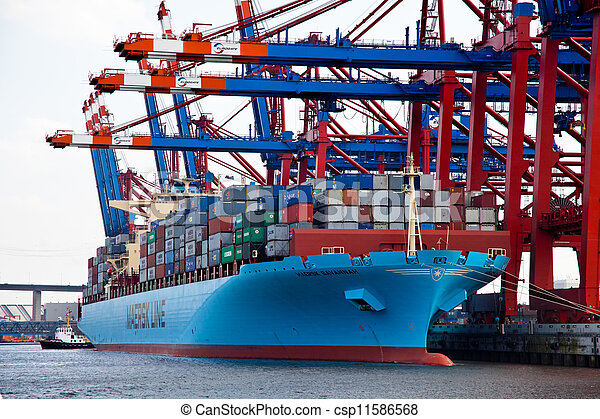 cargo ship with containers in the port of hamburg - csp11586568