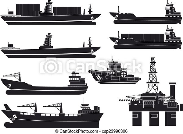 cargo vessels tugboat and oil platform isolated on white background rh canstockphoto com tugboat clipart free Tugboat Graphics