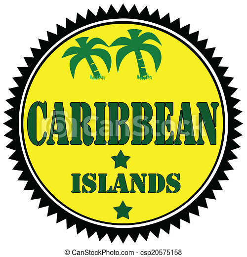 Caribbean Islands-label - csp20575158