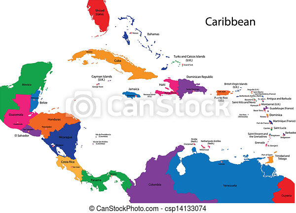 Colorful caribbean map with countries and capital cities. on