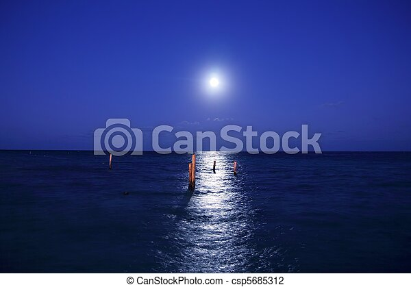 caribbean moon night sea reflection scenic - csp5685312