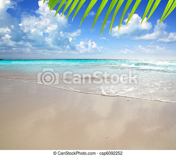 caribbean morning light beach wet sand reflection - csp6092252