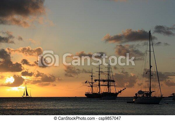 Caribbean sunset  - csp9857047