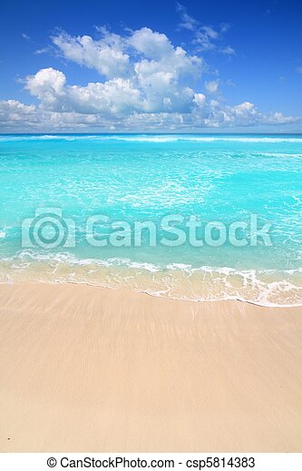 Caribbean turquoise beach perfect sea sunny day - csp5814383