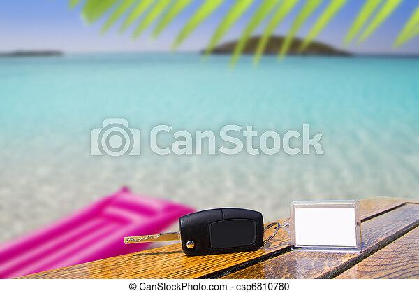 caribe, llaves, coche, vacaciones, madera, tabla, alquiler - csp6810780