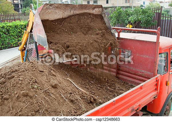caricamento camion, colpo, scavatore - csp12348663