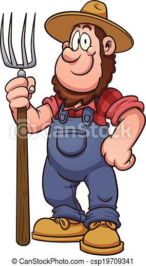 caricatura, agricultor - csp19709341