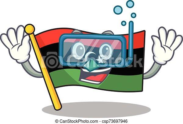 caricatura, aislado, bandera, libia, buceo, mascota - csp73697946