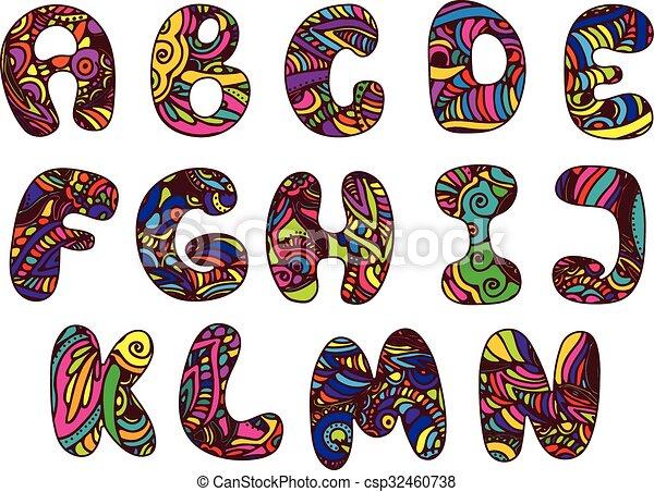 El alfabeto de dibujos animados - csp32460738
