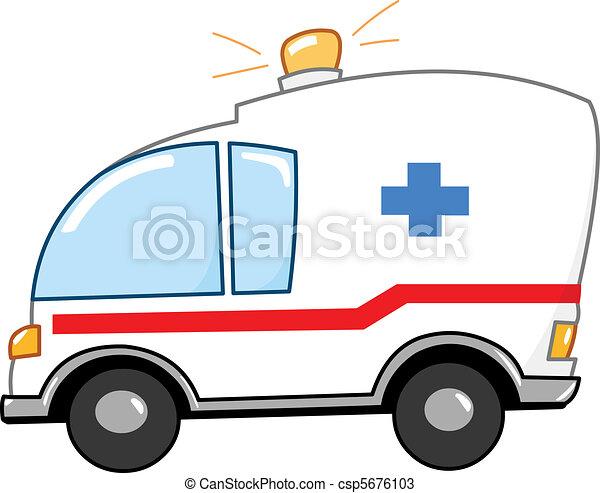 caricatura, ambulância - csp5676103