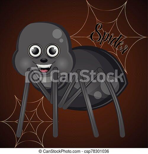caricatura, araña, lindo, feliz - csp78301036