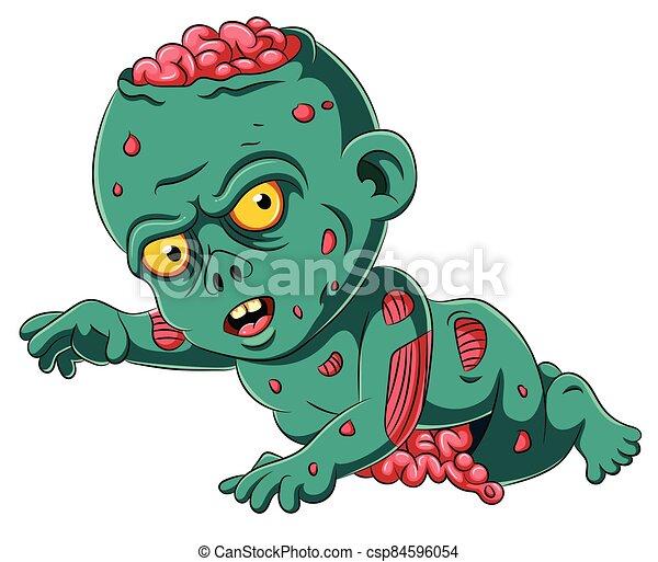 caricatura, asustadizo, zombi, bebé - csp84596054