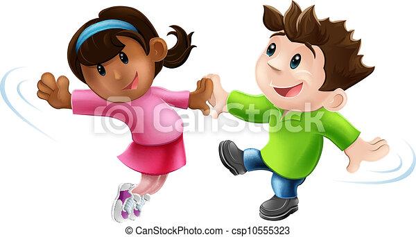 Dos bailarinas de caricatura bailando - csp10555323