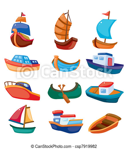 caricatura, barco, icono - csp7919982