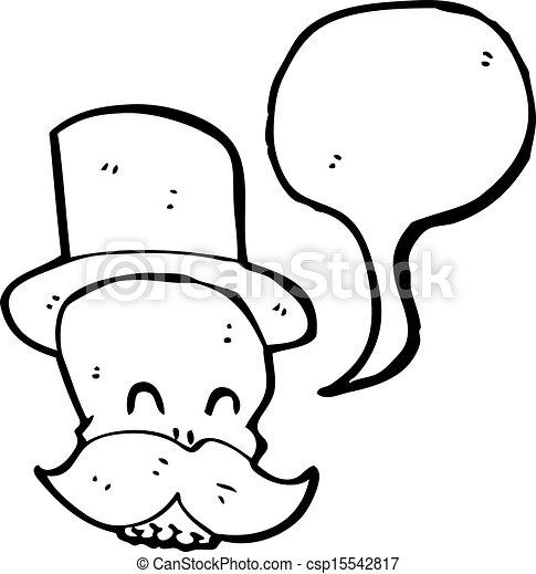 Cráneo de dibujos animados con bigote - csp15542817