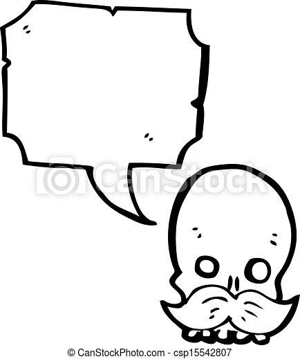 Cráneo de dibujos animados con bigote - csp15542807