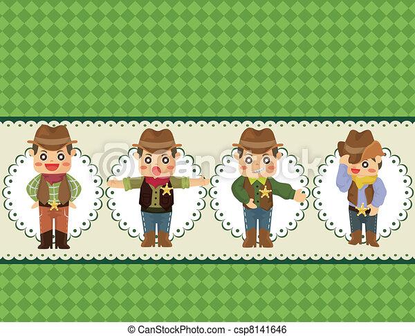 caricatura, cartão, boiadeiro - csp8141646