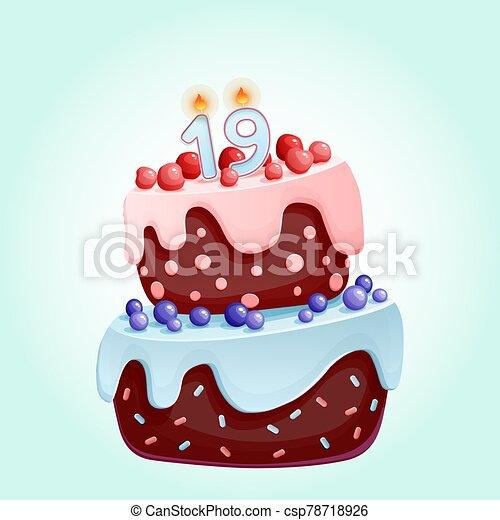 caricatura, chocolate, cerezas, pastel, número, festivo, bayas, año, lindo, vela, cumpleaños, 19, nineteen., partidos, aniversarios, galleta, blueberries. - csp78718926