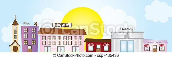 Ciudad Cartoon - csp7485436