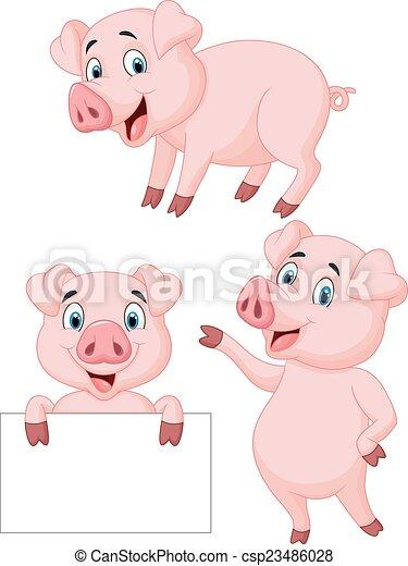 Colección de dibujos animados de cerdos - csp23486028