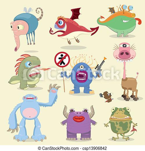 Una colección de monstruos de cartón - csp13906842
