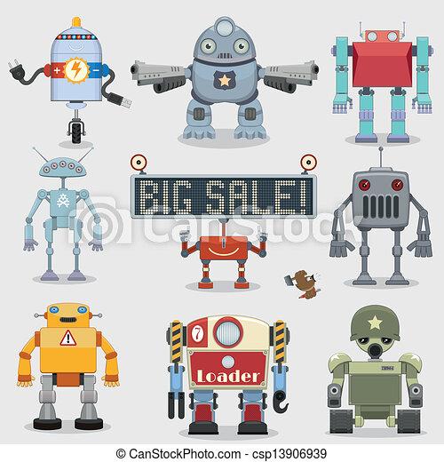 Coleccion de robots de dibujos animados - csp13906939