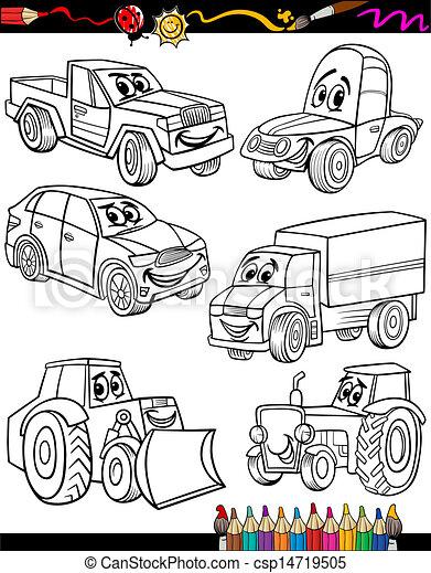 caricatura, coloração, jogo, livro, veículos - csp14719505