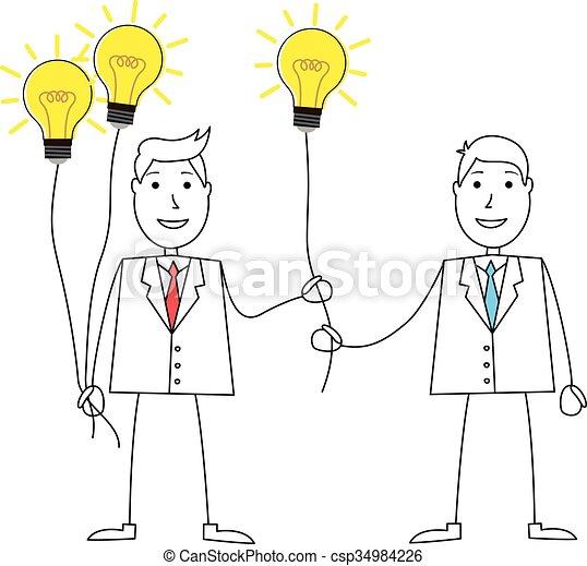 Hombre de dibujos animados compartiendo ideas - csp34984226