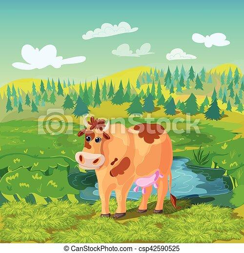 Composición de dibujos animados de vacas - csp42590525