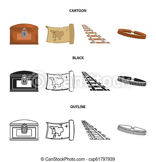 Mapa del tesoro, pecho, raíles, patrulla. Wild West pone iconos de colección en dibujos animados, negros, símbolos de bitmap estilo web de ilustración de acciones. - csp61797939