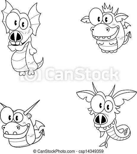Dragones de dibujos animados - csp14349359