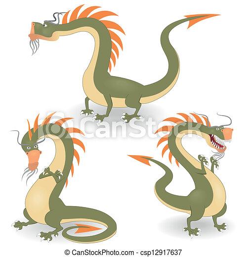 Dragones de dibujos animados - csp12917637