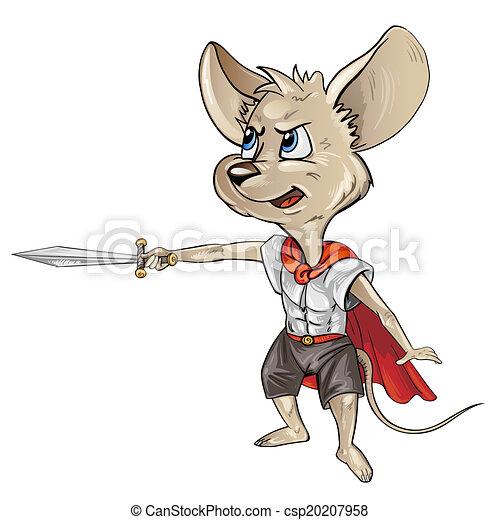 Ratón de dibujos animados con una espada - csp20207958