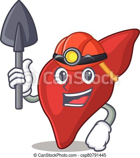 caricatura, fígado, conceito, desenho, saudável, capacete, mineiro, ferramenta, human - csp80791445