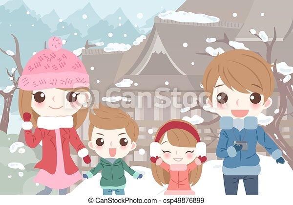 Feliz familia de dibujos animados - csp49876899