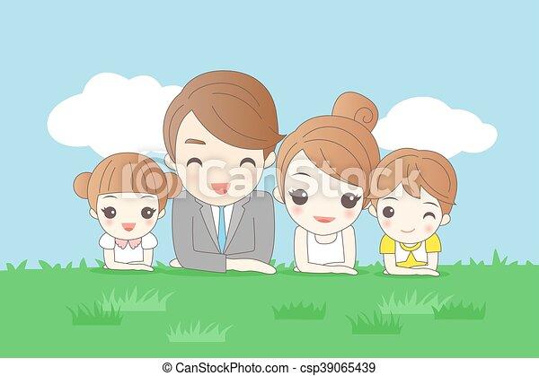 La familia de los dibujos animados está sonriendo - csp39065439