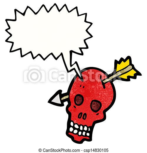 Cráneo de dibujos animados con flecha - csp14830105