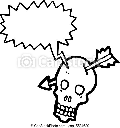 Cráneo de dibujos animados con flecha - csp15534620