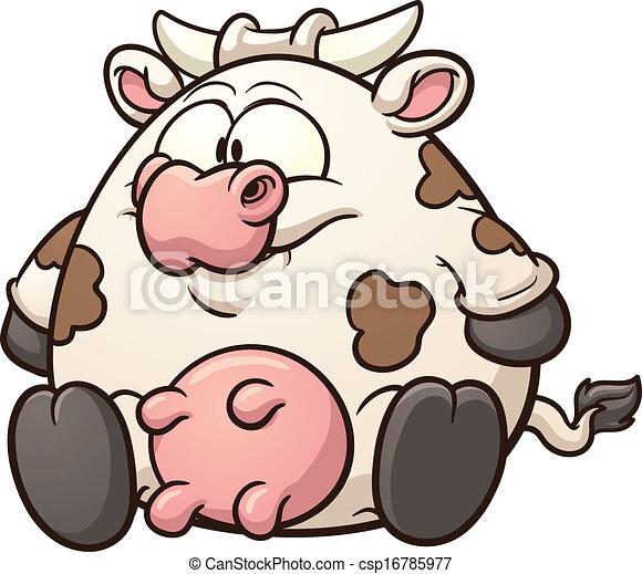 Vaca de caricatura gorda - csp16785977