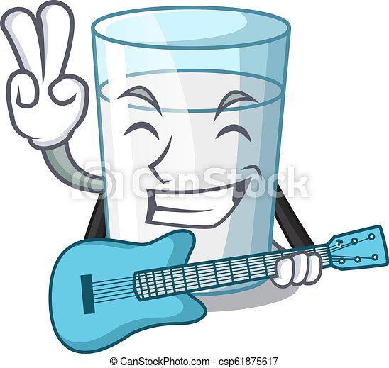 Con un vaso de leche fresco de guitarra en la mesa de dibujos animados - csp61875617