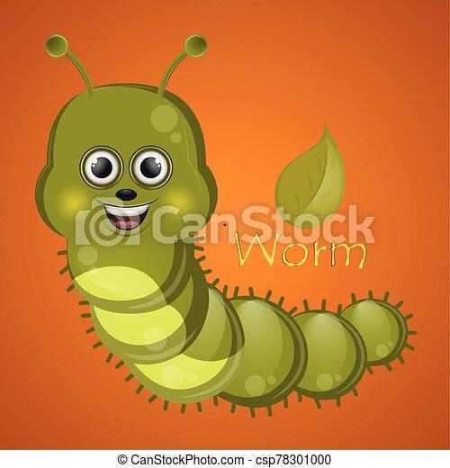caricatura, gusano, lindo, feliz - csp78301000