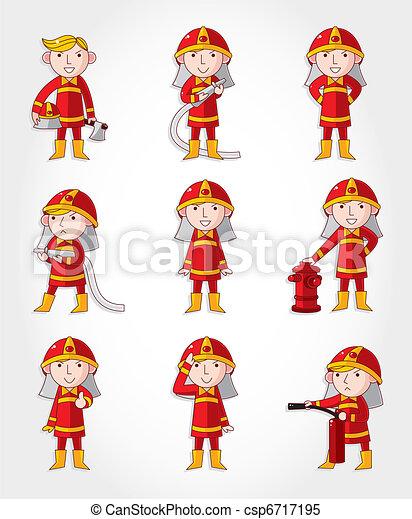 Cartoon Fireman ícono - csp6717195