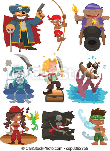 Juego de iconos piratas de dibujos animados - csp8892759